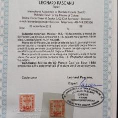 Moldova 1858 , Cap de Bour 80 par. tip II. Em. a II a ,cu certificat! MLH