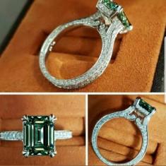 Noutate! Inel argint 925 placat rodiu cu moissanit , diamant  de sinteza!!!