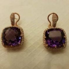 Cercei aur 18K ametist si diamante Cellini