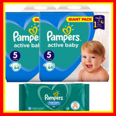 Scutece Pampers Nr 5 Active Baby Giant Pack, 11-18 kg, 128 Buc + Servetele Umede