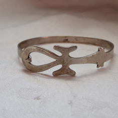 BRATARA argint CRUCE EGIPTEANA superba VECHE marcaje EGIPT de efect SPLENDIDA