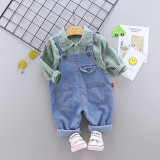 Salopeta din blugi si camasuta verde (Marime Disponibila: 2 ani)