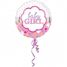 Balon botez folie metalizata 43cm Baby Girl Scallop