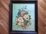Tablou,pictura franceza in ulei pe panza,buchet de trandafiri, Flori, Altul