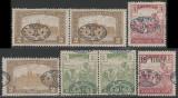 1919 Romania - 7 timbre cu erori de supratipar Ocupatia Romana in Debretin I