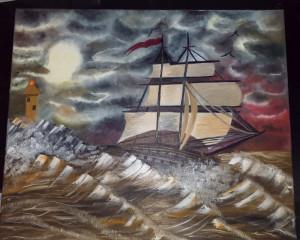 Tablou / Pictură - Corabie pe mare