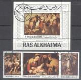 Ras Al Khaima 1970 Paintings, Religion, set+perf.sheet, used AL.007