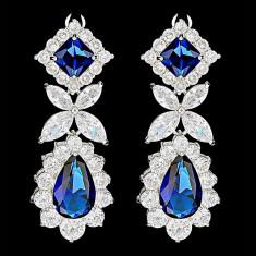 Cercei placati cu Aur 18K si Diamante, Alessandra Platinum & Blue