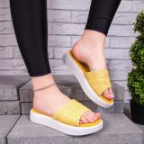 Papuci dama cu talpa groasa galbene Capsia