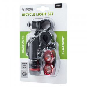 Set far si stop de bicicleta Vipow, 1 W, 3 moduri de operare, iluminare 100 m