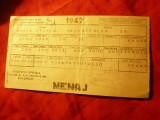 Chitanta Electricitate- Menaj 1947 - Soc.Gen.Gaz si Electricitate Bucuresti