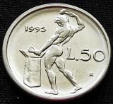 Moneda 50 LIRE - ITALIA, anul 1995 *cod 895 = modelul mic, Europa