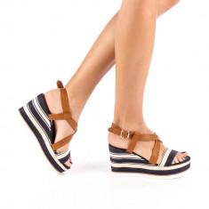 Sandale dama cu platforma Adras albastre