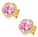 Cumpara ieftin Cercei din aur galben 14K - floare cu zirconii roz si transparente