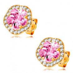 Cercei din aur galben 14K - floare cu zirconii roz si transparente