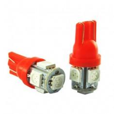 Bec pozitie T10 5 led SMD 5050 lumina rosie 12V (pret/set) ManiaCars