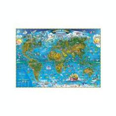 Harta lumii pentru copii 1600x1200 mm, fara sipci (GHLCP160-L)