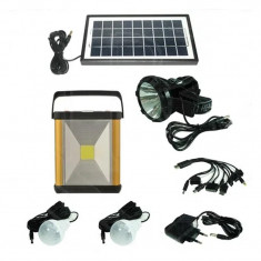 Kit solar portabil Gdlite GD-8032, LED COB, 4000 mAh, 2 becuri, acumulator reincarcabil
