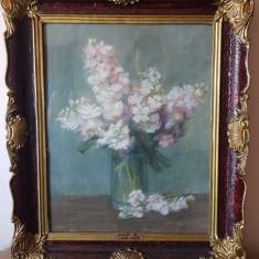 Tablou vechi anii 1800 pictura Hollos Karoly - pastel - flori rama superba