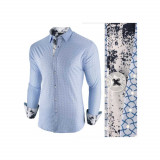 Camasa pentru barbati, albastru deschis, slim fit, casual - Epic, 3XL, L, M, S, XL, XXL, Maneca lunga