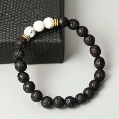 Bratara Lava Stone cu bile negre si albe