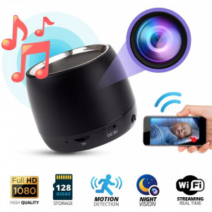 Boxa cu Camera Spion iUni Spy IP26, 1080p, Wireless, Senzor de Miscare, Night Vision, Inregistrare Audio-Video, P2P