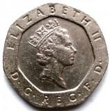 MAREA BRITANIA , 20 PENCE 1997 , Elizabeth II 3rd portrait , HEPTAGONALA !