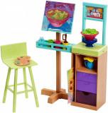 Set de joaca Barbie cu accesorii - Raftul de pictura, FJB26