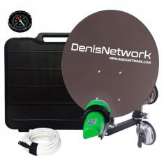 Antena satelit camion TIR cu ventuza dubla, pentru camping, busola, cablu 5m