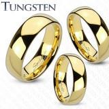 Verighetă din tungsten în culoare aurie, suprafață lucioasă și netedă, 6 mm - Marime inel: 64