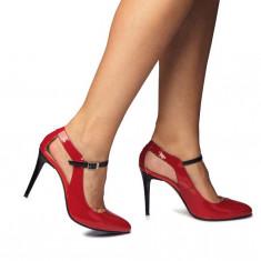 Pantofi dama stiletto din piele lacuita rosii CA07 36