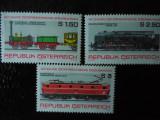 Serie timbre locomotive trenuri cai ferate Austria nestampilate