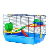 Cușcă pentru hamsteri SKIPPER colorată - cu accesorii din plastic