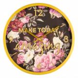 Ceas de perete, model cu imprimeu floral, 30×4 cm, multicolor