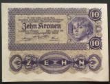 Bancnota ISTORICA 10 COROANE - AUSTRO-UNGARIA (AUSTRIA), anul 1922   *cod 237 A