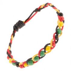 Șnur împletit galben, roșu și negru cu mărgele colorate