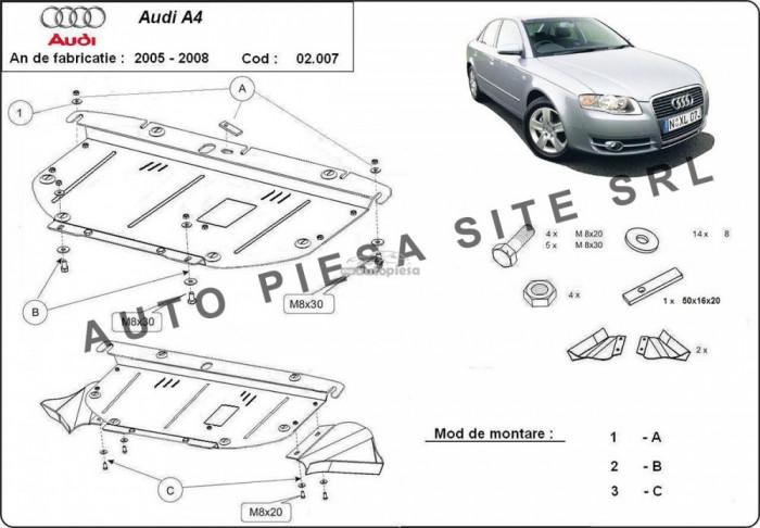 Scut metalic motor Audi A4 B7 (4 cilindrii) fabricat in perioada 2005 - 2008 APS-02,007