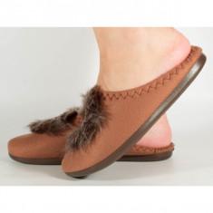 Papuci de casa maro din plus - 11981