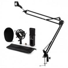 Auna CM001B, set de microfon V3, microfon condensator, braț de microfon, culoare neagră