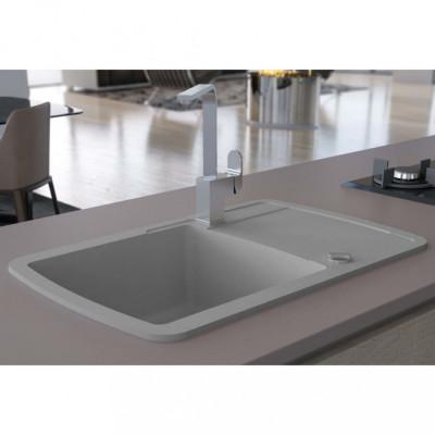 vidaXL Chiuvetă de bucătărie din granit, cu un singur bazin, gri foto