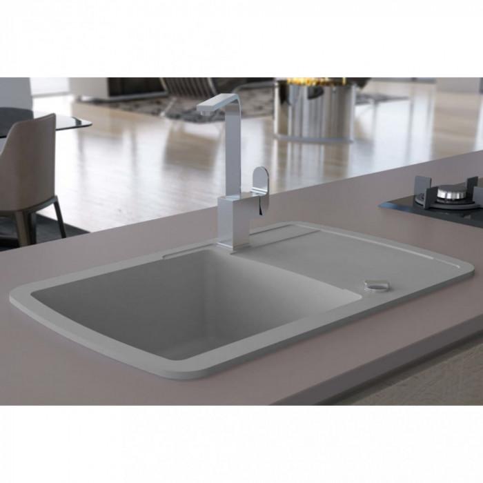 vidaXL Chiuvetă de bucătărie din granit, cu un singur bazin, gri