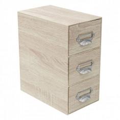 Cutie din lemn pentru depozitare, model cu 3 sertare, 22x13x25.5 cm