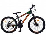 Cumpara ieftin Bicicleta MTB-HT Shimano Tourney 21 viteze, roti 24 Inch, frane Disc Velors CSV24/10A, cadru negru cu design verde/portocaliu