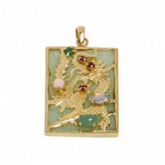 Pandantiv din aur 14K, motive asiatice - Dragon si Paun , pe jad