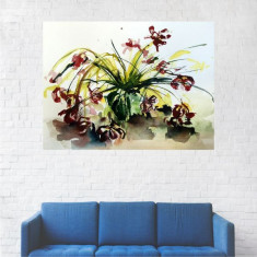Tablou Canvas, Pictura Flori Rosii - 80 x 100 cm