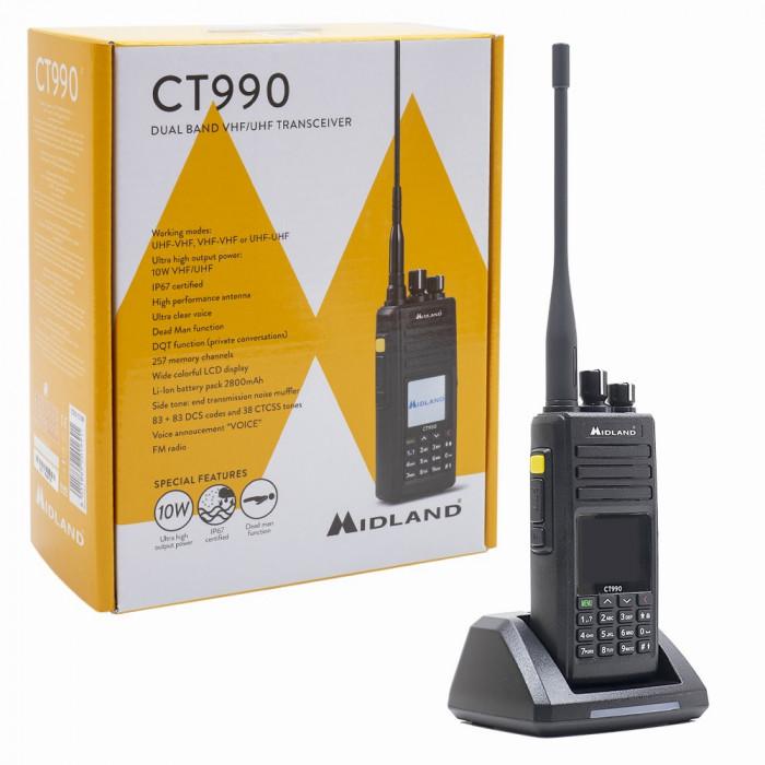 Resigilat : Statie radio VHF/UHF portabila Midland CT990 dual band, 136-174Mhz - 4