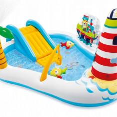 Piscina Gonflabila Intex pentru Copii, Barca Pescuit cu Tobogan, Pesti si Undita, Capacitate 182L