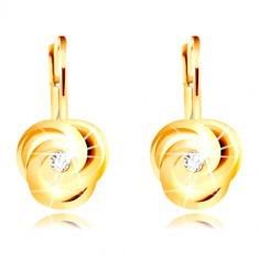 Cercei din aur galben de 14K - trei petale spiralate, zirconiu rotund