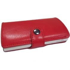 Portofel unisex, port card iUni P2, RFID, Compartiment 6 carduri, Rosu, Grena