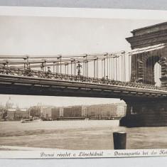 BUDAPESTA , PODUL PESTE DUNARE , CARTE POSTALA ILUSTRATA , MONOCROMA, NECIRCULATA , DATATA 1924